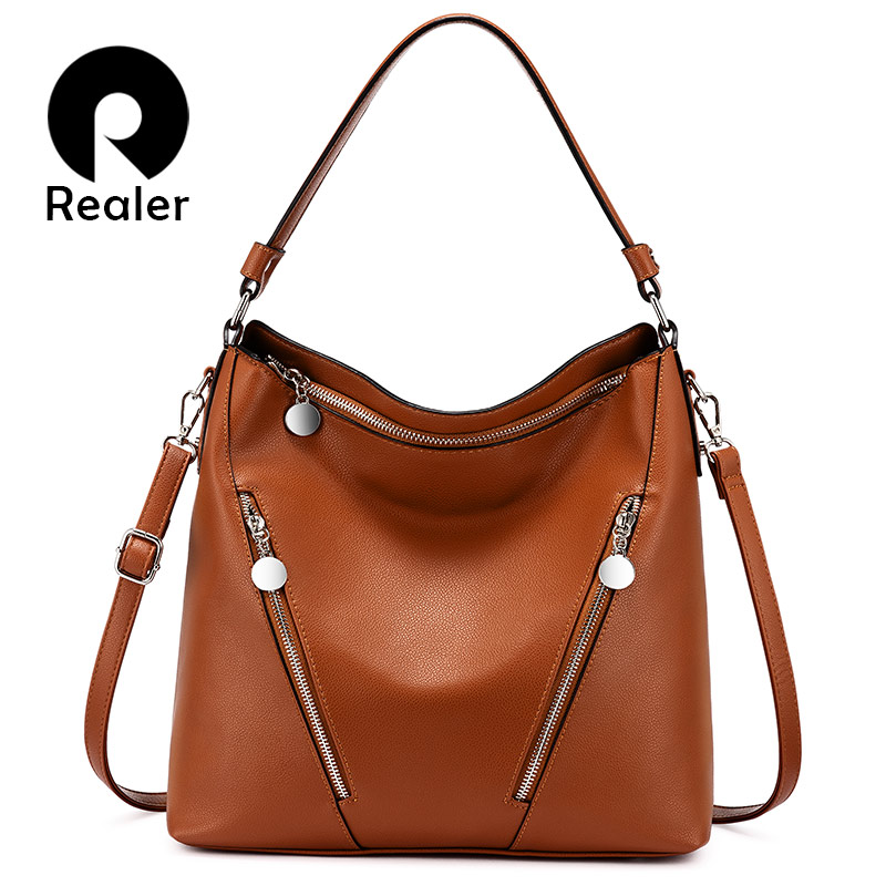 REALER Women Handbags For Bussiness Female Retro Leisure Shoulder Ladies Crossbody Bags Designer Large Capacity Hobos Purse 2019