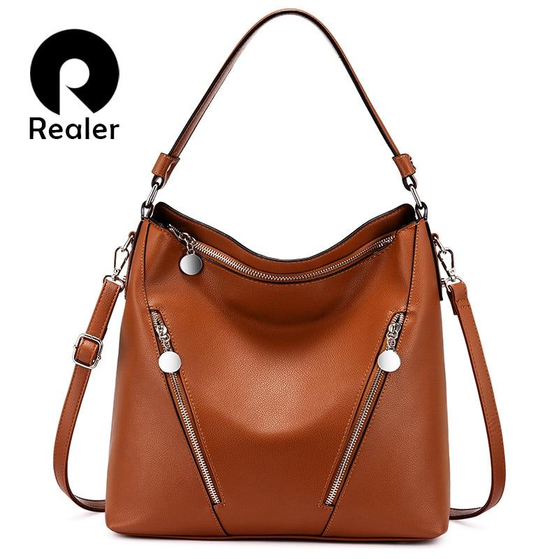 REALER Women Handbags For Bussiness Female Retro Leisure Shoulder Ladies Crossbody Bags Designer Large Capacity Hobos Purse 2019