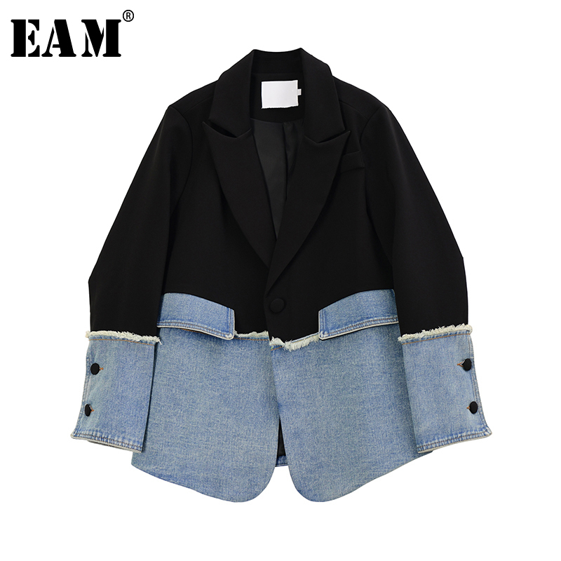 [EAM]  Women Black Denim Split Asymmetrical Blazer New Lapel Long Sleeve Loose Fit  Jacket Fashion Tide Spring Autumn 2020 1R735