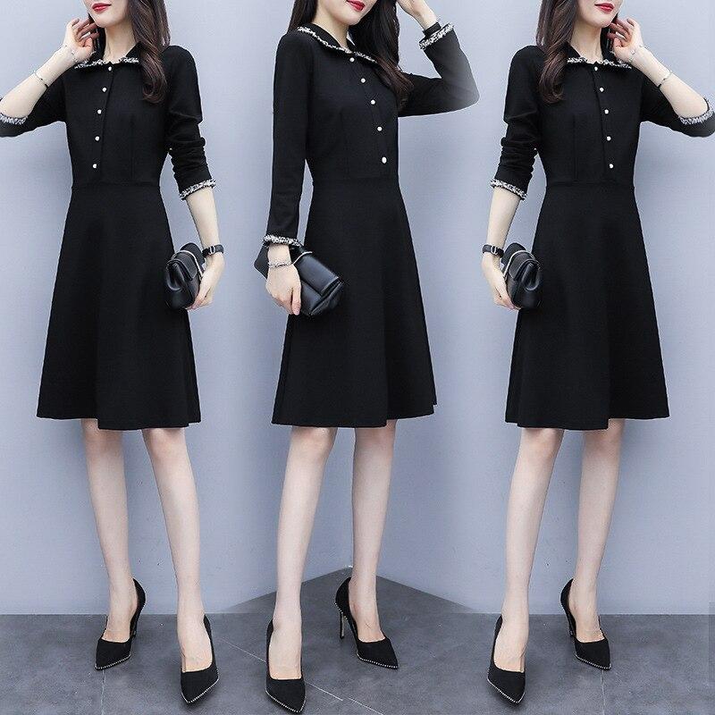 2019 Autumn New Style Large Size Elegant Elegant Slimming Loose-Fit Hepburn Wind Black Dress French High-waisted Dress Women's