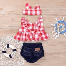 Toddler Girls Summer Clothing Set backless girls clothing set Red Skirted T-shirt Tops+Denim Shorts Bloomers Headband Outfits