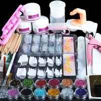 Manicure Kit 19 Nails Nail Art Tips False Nails Sequins Decor Powder White Light Pink Manicure Set Kit (Size: Acrylic Nail Kit