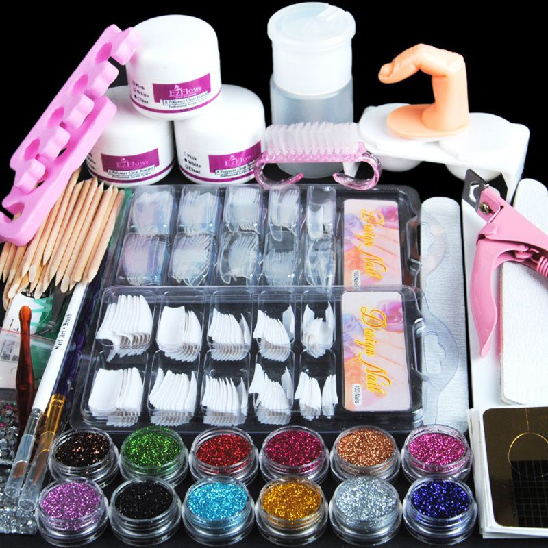 Manicure Kit 19 Nails Nail Art Tips False Nails Sequins Decor Powder White Light Pink Manicure Set Kit (Size: Acrylic Nail Kit