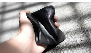 Image 3 - Pndme carteira masculina de couro legítimo, carteira masculina compacta feita em couro legítimo, macia e casual, simples, para jovens, feita em couro de vaca bolsa de mão