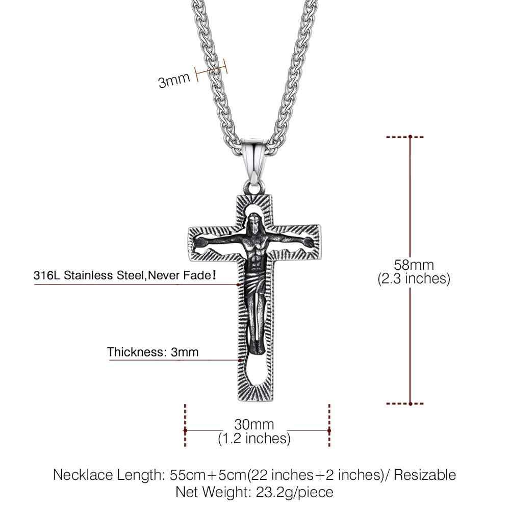 """U7 Crocifisso INRI Croce Pendente con 24 """"Catena Dei Monili Christian In Acciaio Inox Hip Hop Oro Gesù Collana per Gli Uomini donne P1049"""