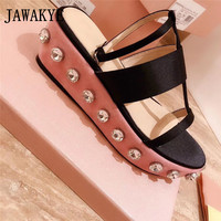 Summer thick bottom sandals women flat heel pink platform casual vacation beach Shoes Satin Crystal Strappy Wedge Sandals