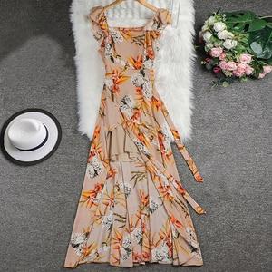 Image 5 - TEELYNN off shoulder maxi dresses sexy Side split boho dress floral print summer Dresses beach Gypsy women dress Vestidos