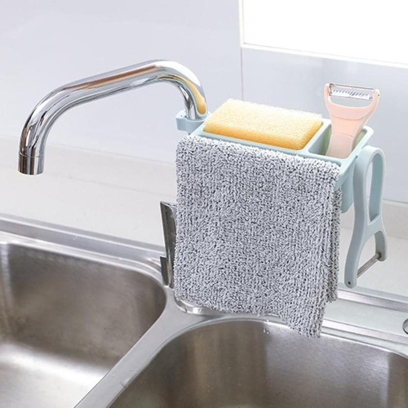 Kitchen Sink Sponge Storage Rack Dish Drain Soap Brush Organizer Bath Accessory Side Widening Design Can Place Towels