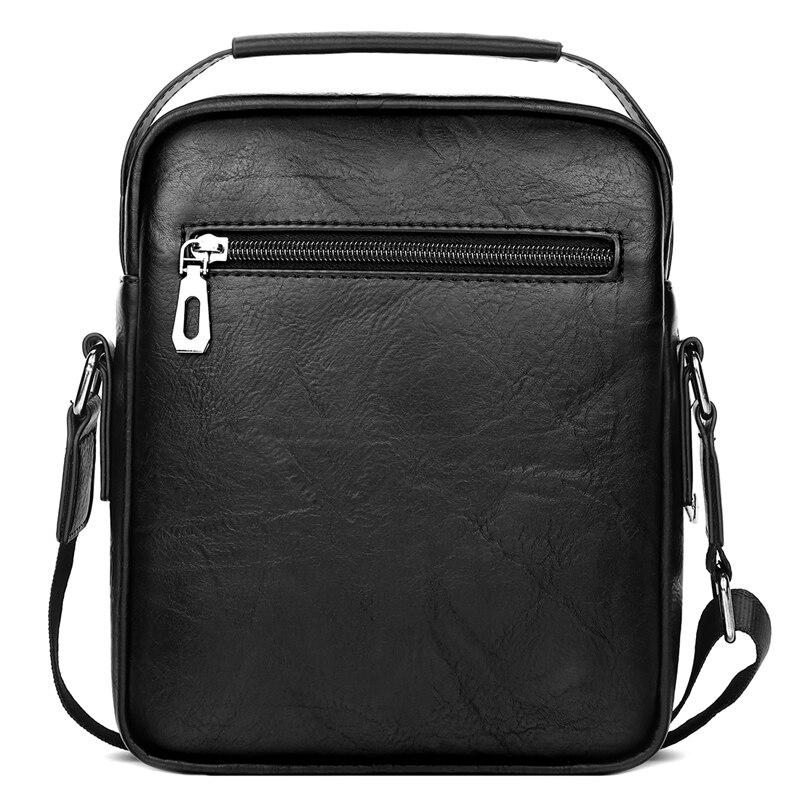 Image 2 - Alena Culian New Casual Leather Mens Business Messenger Bag  Zipper Hasp Design Open Handbags For Men Black Flap Shoulder  BagsCrossbody Bags