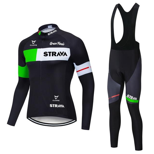 2020 strava pro equipe de manga longa conjunto camisa ciclismo bib calças ropa ciclismo bicicleta roupas mtb camisa uniforme dos homens 5