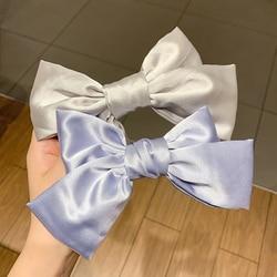 [Xwen] Satin Big Bow Hairpin Women Girls Headdress Ponytail Head Spoon Clip Korean Top Clip Hairpin Fashion Accessories OH1927