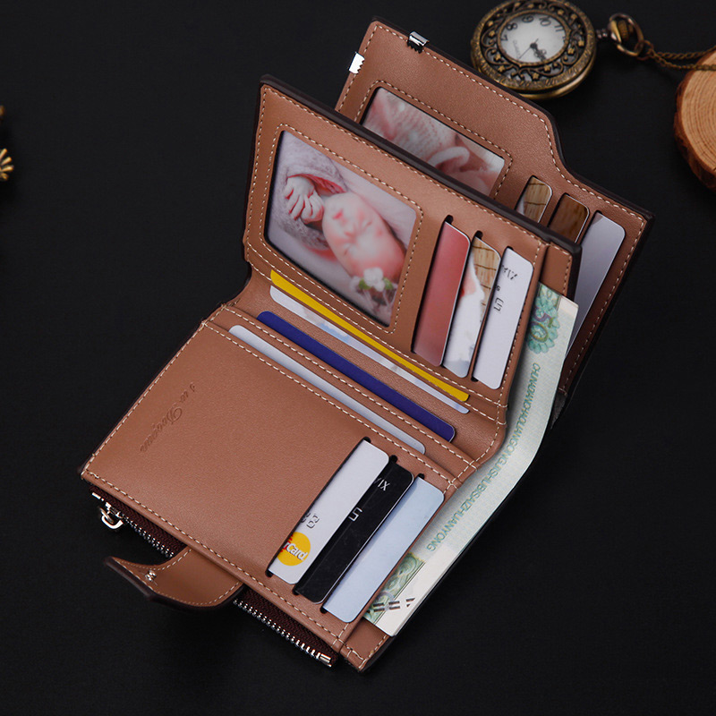 Hd467134ebaf346e9b1e1ecb83f7491f13 - New Business men's wallet Short vertical Male Coin Purse casual multi-function card Holders bag zipper buckle triangle folding