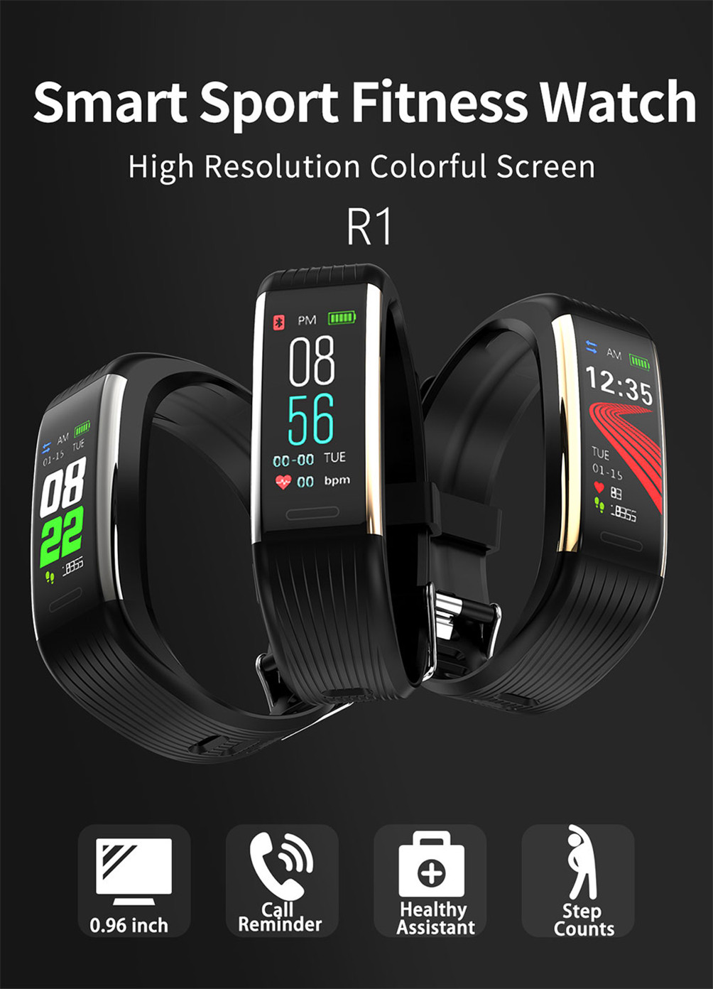 Hd46729efcacd420d9600237111646c70W 2020 Smart Wristband Fitness Bracelet Blood Pressure Measurement Smart Bracelet Heart Rate Waterproof Pedometer Smart Band Watch