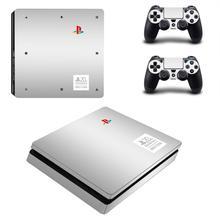 Pegatina de recubrimiento delgada PS4 Slim cubierta del juego para PS4, edición del 20 ° aniversario, para PlayStation 4 Slim y 2 calcomanías de skins para mandos