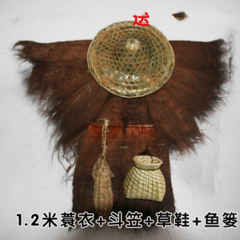Çin tarzı saman yağmurluk kova palmiye giysileri balık sepeti saman ayakkabı el yapımı halk özellikleri Artware süslemeleri