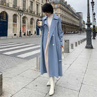 2019 New Spring Long Trench coat women Fashion Double Breasted Belt High quality Trench coat Casual Business Outerwear
