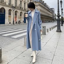 2019 ฤดูใบไม้ผลิใหม่เสื้อโค้ทยาวผู้หญิงแฟชั่นคู่เข็มขัดคุณภาพสูงเสื้อโค้ทลำลองOuterwear