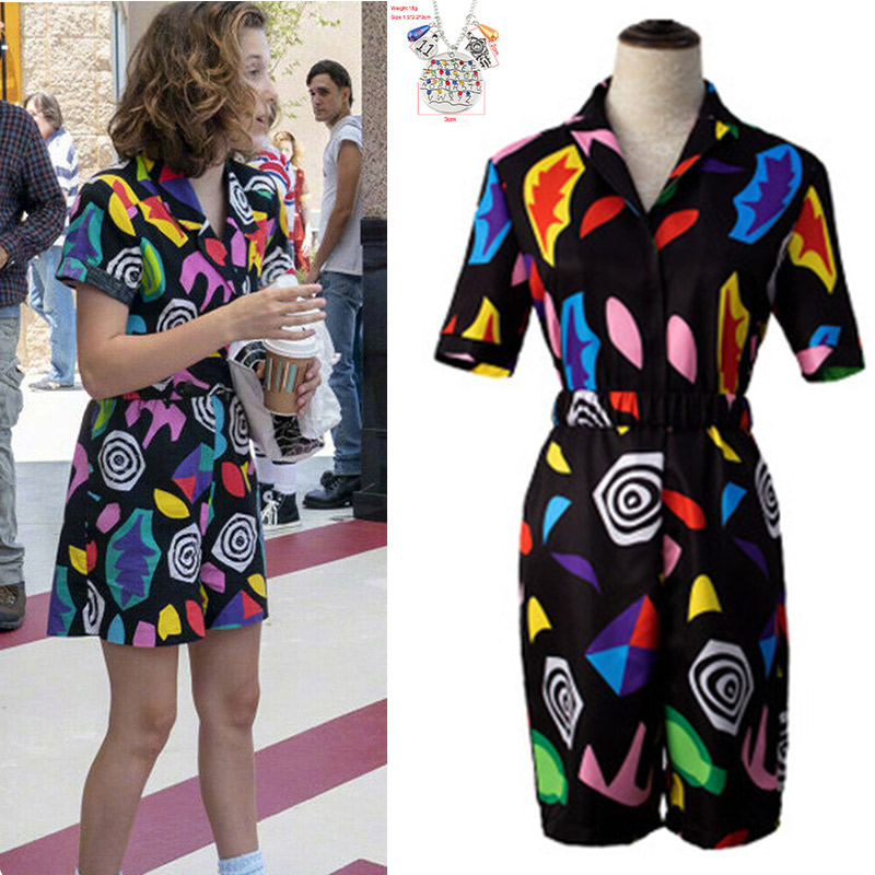 Stranger Things 3 Cosplay Eleven Costume Shirt Eleven Dress Halloween Carnival Party 3D Print Jumpsuit Womens Rompers Belt Girls