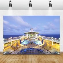 Laeacco כחול שמיים ים יוקרה שיוט סיפון מסיבת צילום תפאורות צילום רקע ויניל Photophone עבור תמונה סטודיו