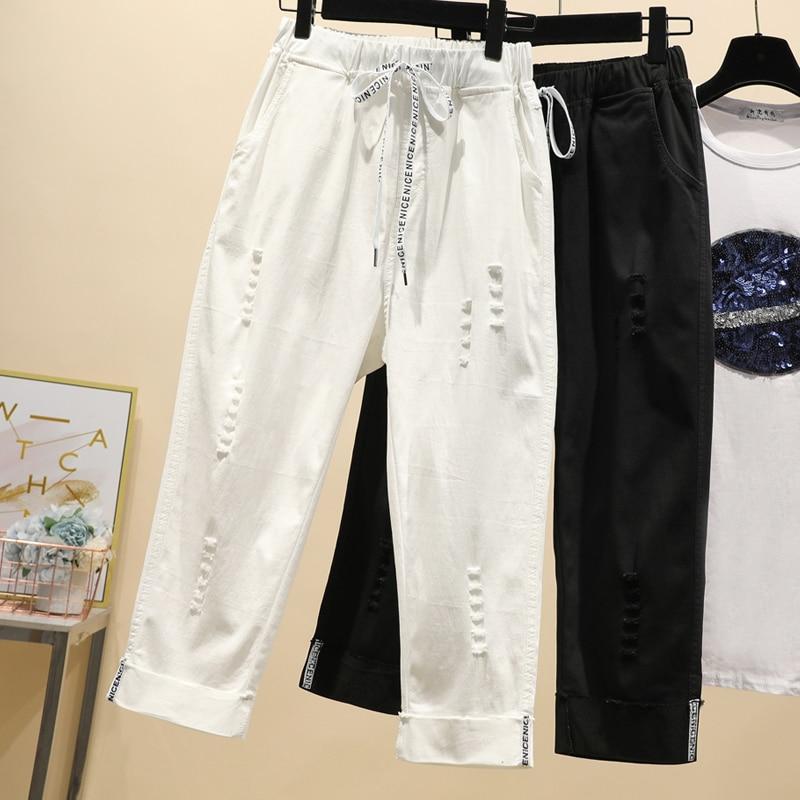 Ripped Pants Women Plus Size Drawstring Loose elastic Capris Calf-length female white black Straight Trousers Women