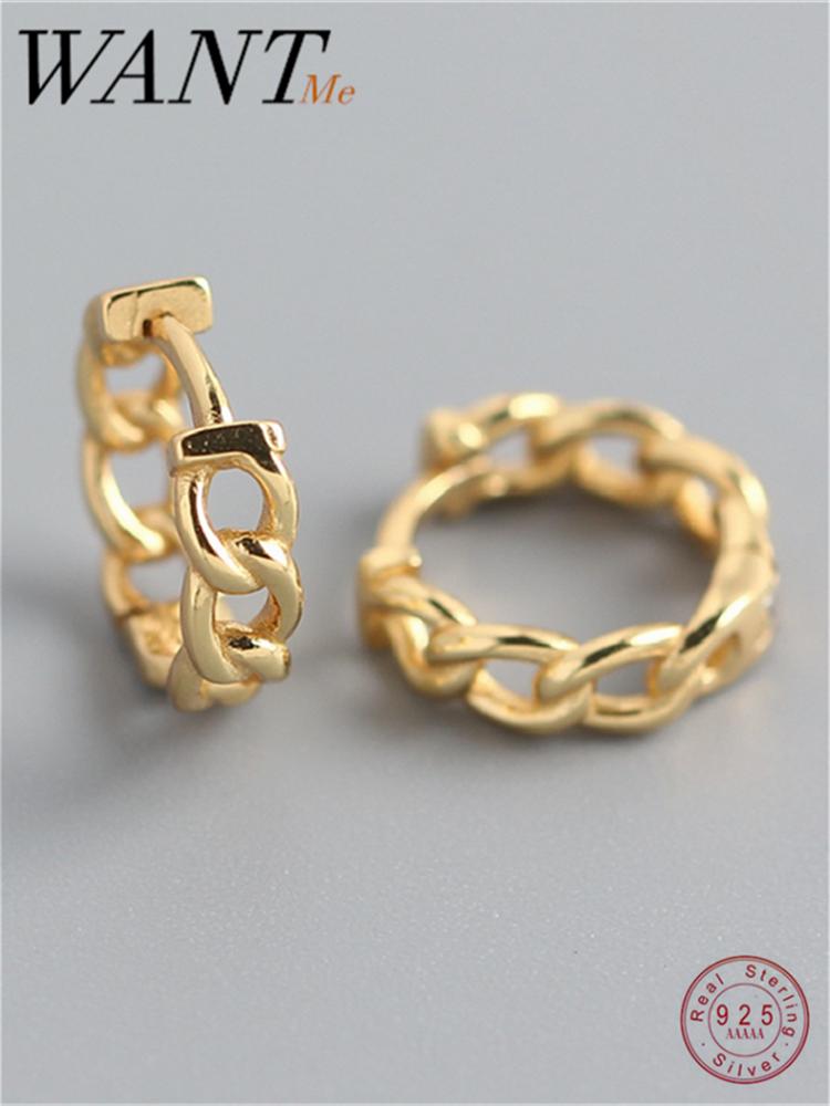 Женские серьги-гвоздики WANTME, в готическом стиле, цепочка в стиле панк/хип-хоп/Куба, серебро 100% пробы, 925