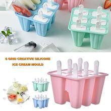 6 Grids Food Grade Silicone Homemade Ice Popsicle Mold Frozend DIY Mould Tray DIY Homemade Ice Cream Ice Tray Ice Box Creative