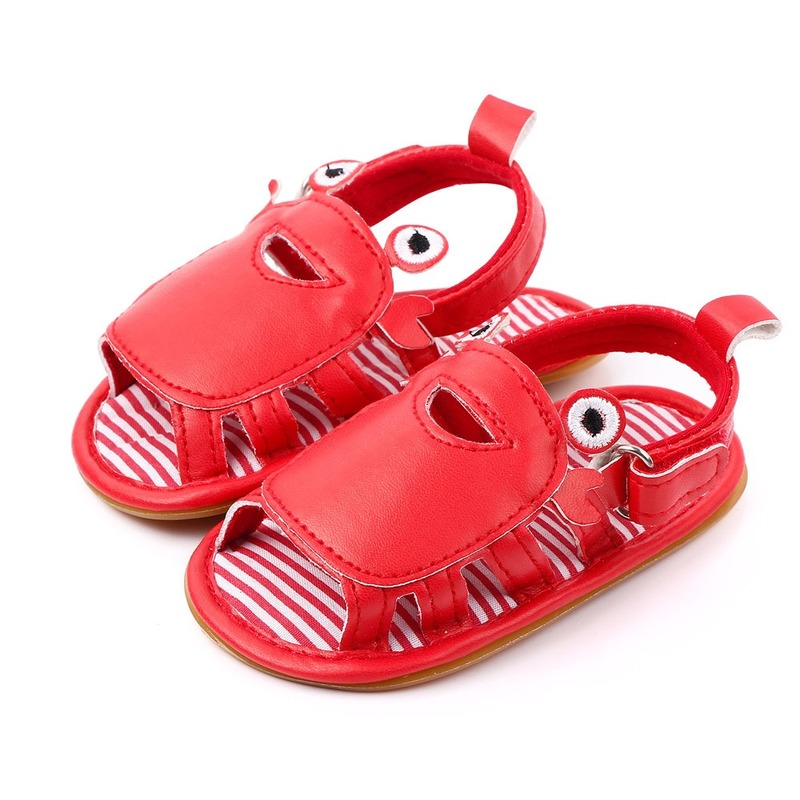 So Cute Newborn Baby Boy Pram Shoes Anti-Slip First Shoes Crab Summer Sandals