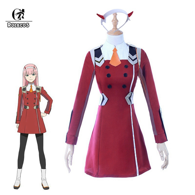 ROLECOS 4XL DARLING 02 Zero Two Cosplay Costume DARLING In The FRANXX Anime Cosplay DFXX Women Costume (Dress + Headwear )