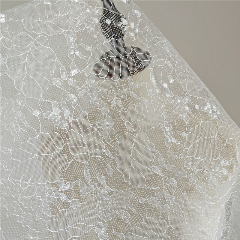 Best Selling LVORY French Sequins  Polyester Embroidery  Tulle Lace Fabric Wedding Dress 5 Yards/Lot
