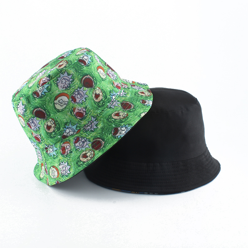 Anime Rick Morty Fisherman Hat Panama Reversible Bucket Hat Men Women Summer Sun Cap Hip Hop Gorros Cartoon Print Fishing Hat