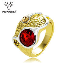 Viennois New Red & Purple Rhinestone Women Size Ring Gold & Gun Mix Color Cocktail Party Ring(China)