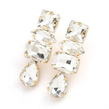 Rhinestone Water Drop Dangle Earrings 4