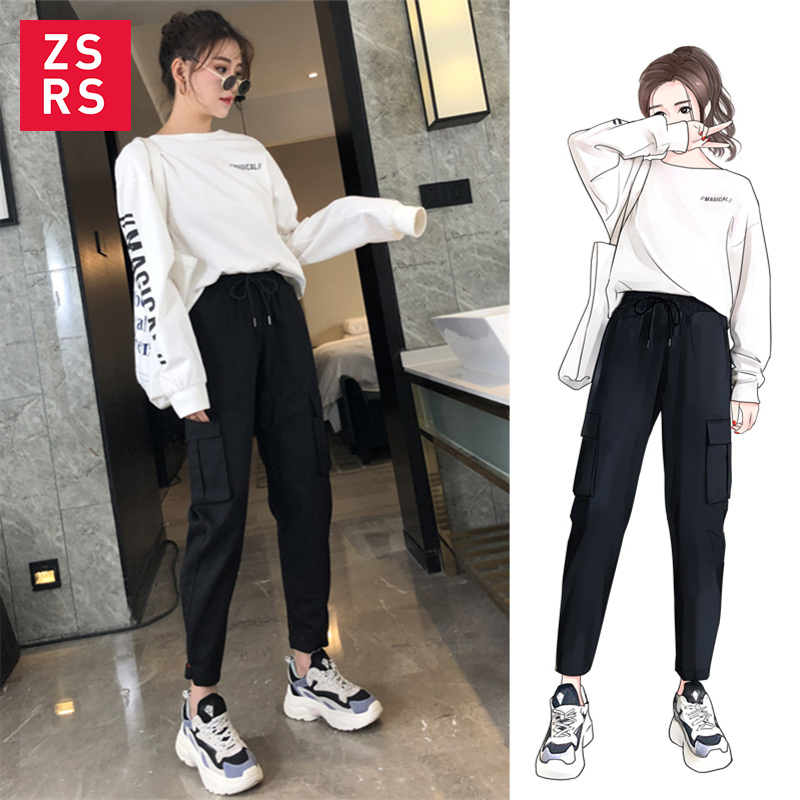 ZSRS 2019 Streetwear Cargo   Pants   Women Casual Joggers Black High Waist Loose Female Trousers Korean Style Ladies   Pants     Capri