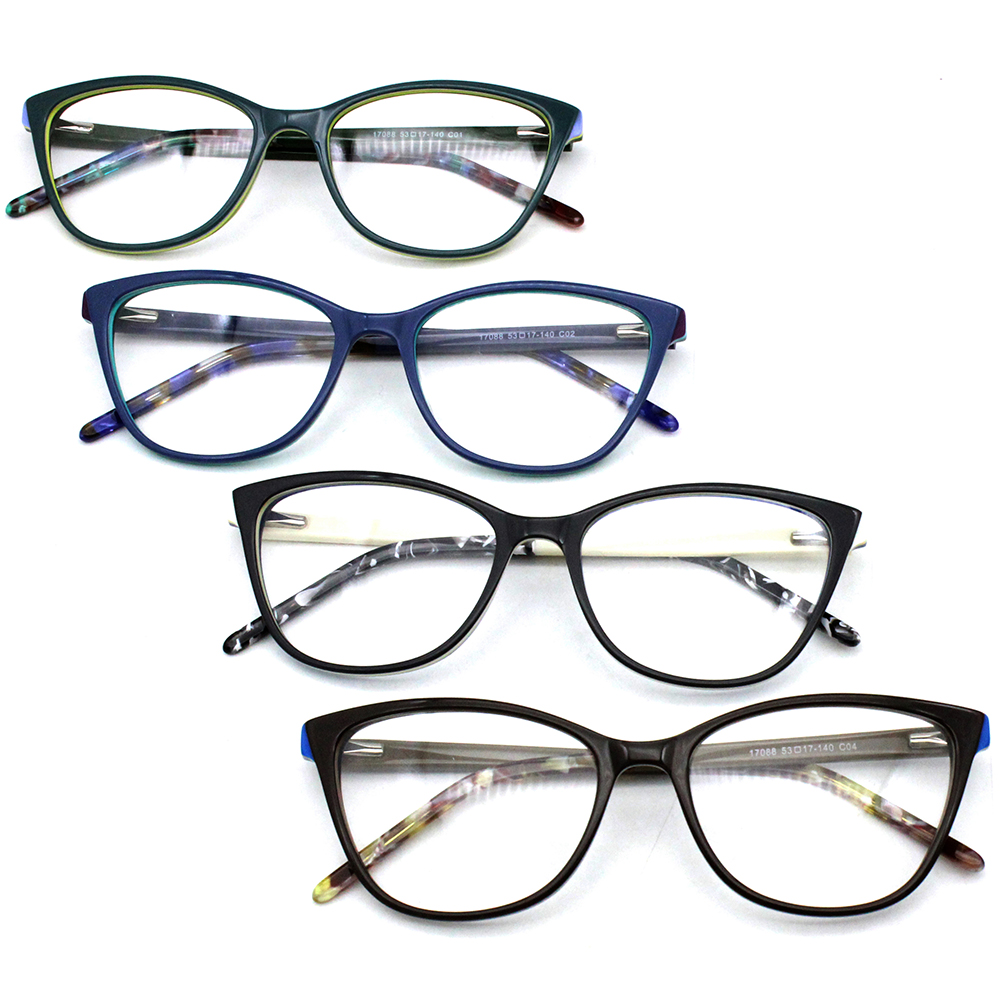 17088 Acetate optical frames Sexy Cat Eye Glasses Frames Women Fashion Brand Designer Optical Retro Eyeglasses Frame image