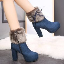Platform High-Heel boots Winter Shoes Velvet Waterproof Plus Women's with New Thick Martin