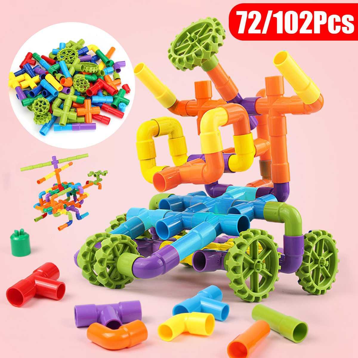 72pcs 102Pcs 3D Model Building Blocks DIY Building Blocks House Car Robots Tubing Brick For Baby Child Gift TOY