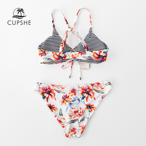 Image 5 - CUPSHE Floral Print And Striped Reversible Bikini Set Women Lace Up Two Pieces Swimwear 2020 Beach Bathing Suits Swimsuits