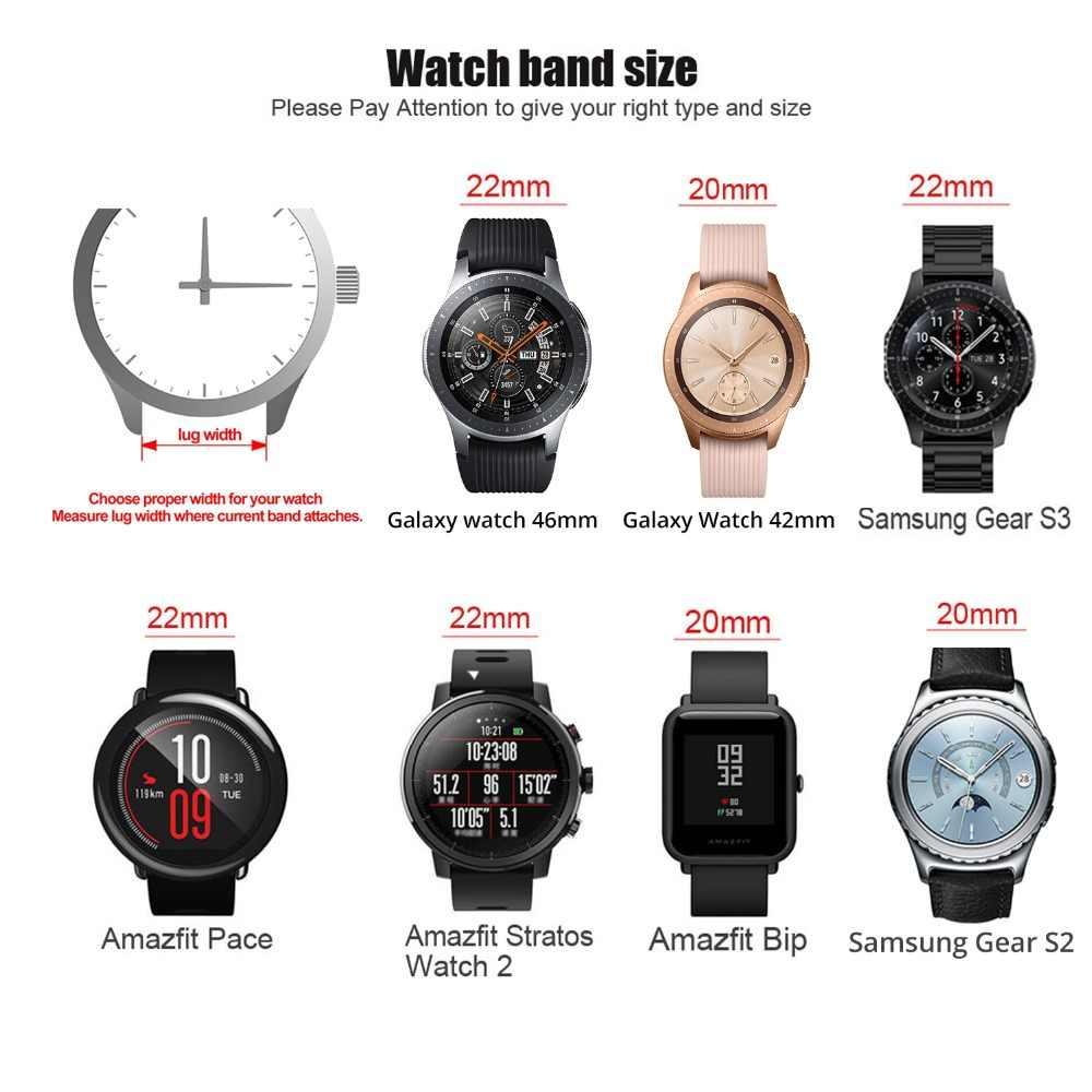 20 millimetri 22 millimetri Genuine Leather Watch Band Per Amazfit Huawei Samsung Galaxy Orologio Active2 46 millimetri 42 millimetri Gear s3 Sostituzione Della Cinghia Cinghie