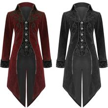 2019 Mens Goth Steampunk Uniform Costume Praty Outwear Coat Long Sleeve Outwear Coat Black And Red New Arrive F1(China)