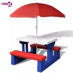 VidaXL Kinder Picknick Tisch Mit Regenschirm 100% Polyamid Perfekte Für Ihre Aktive Kinder Picknick Oder Spiele Im Freien