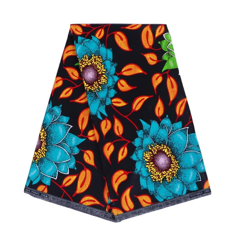 2019 Newest Design 100% Cotton Blue & Green Flowers Orange Leaf Print Fabric 6Yards\lot