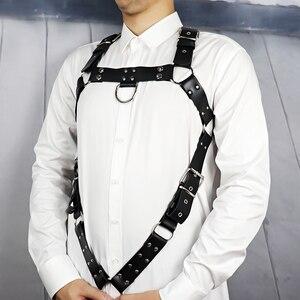 Image 3 - UYEE nowy uprząż ze sztucznej skóry pasy mężczyźni projektant bielizna regulowana metalowa klamra pasa Body do Bondage pas szelki LM 031