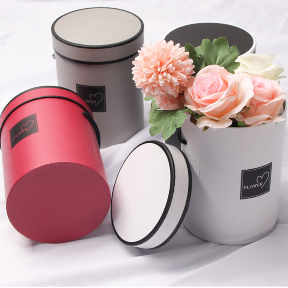 Handheld Round Flower Paper Boxes Birthday Valentine Mini Paper Box With Lid Hug Bucket Florist Gift Storage Boxes For Wedding