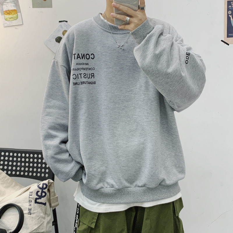 Privathinker Korean Men's Gray Sweatshirts Harajuku Letter Printed Men Hoodies 2020 New Male Loose Pullovers Tops