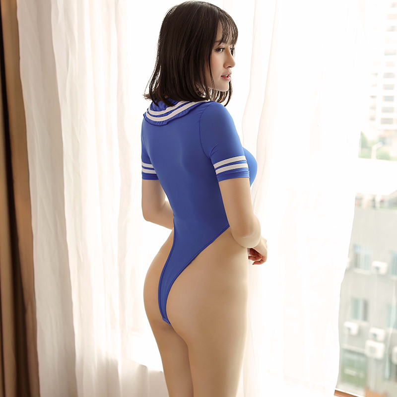 Swimsuit Cosplay School Beachwear High-Cut See-Through Women Sexy Open-Crotch Sukumizu