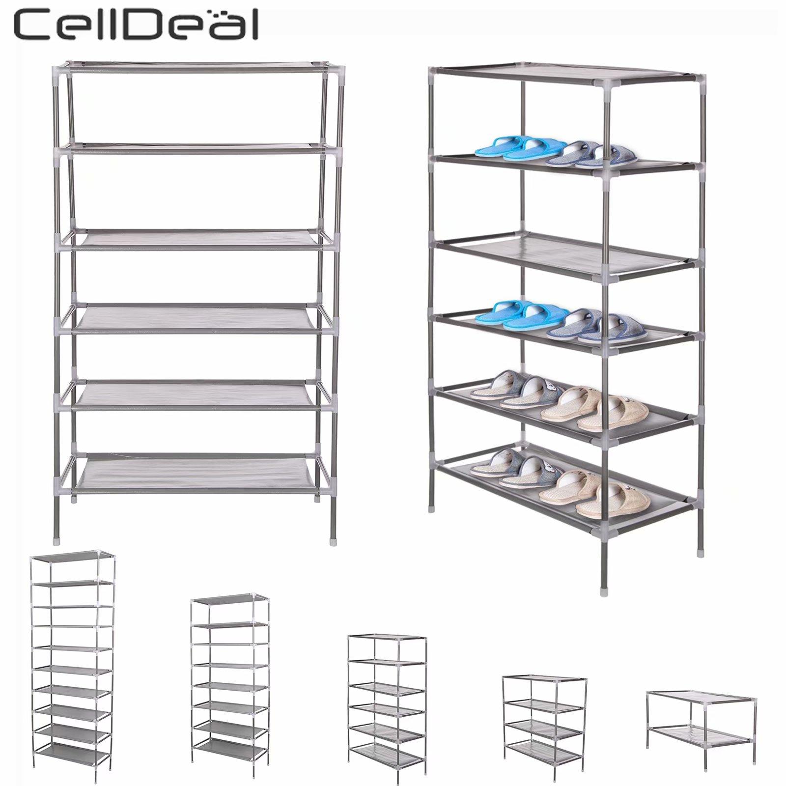 Celldeal 2/4/6/8/10 camadas de tecido não tecido dustproof sapato rack armazenamento organizador capa armário prateleira 6/12/18/24/30 pares