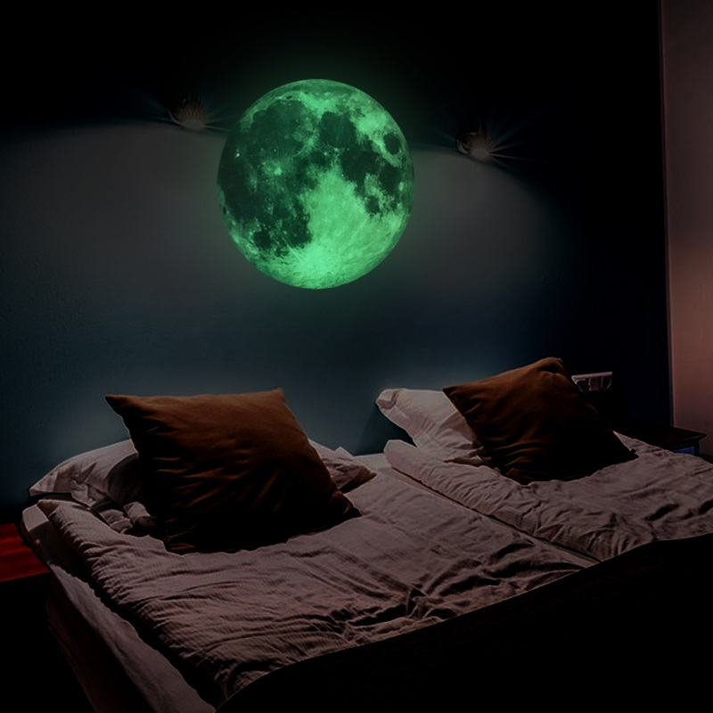 30cm Large Luminous Moon Earth In The Dark  DIY Wall Paper Living Home Decor Kids Room Bedroom Glow Wallpaper Wall Sticker