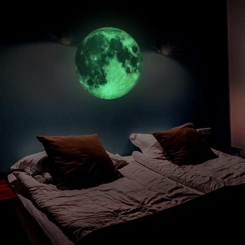30cm Large Luminous Moon Earth In The Dark  DIY Wall Paper Living Home Decor Kids Room Bedroom Glow Wallpaper Wall Sticker