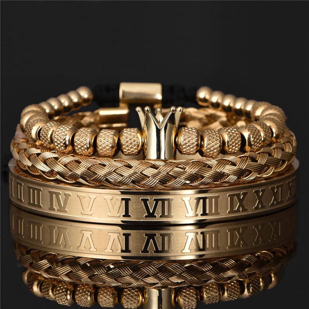 Luxury Roman Royal Crown Charm Bracelet Men Stainless Steel Geometry Pulseiras Men Open Adjustable Bracelets Couple Jewelry Gift
