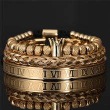 Adjustable Bracelets Couple Jewelry Charm Gift Royal-Crown Stainless-Steel Luxury Pulseiras